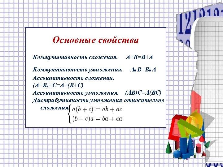 Основные свойства Коммутативность сложения. A+B=B+A . . Коммутативность умножения. A B=B A Ассоциативность сложения.