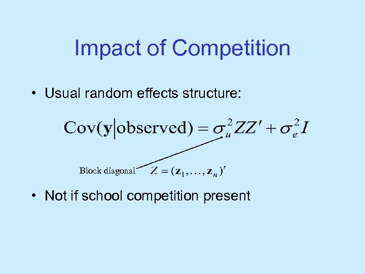Impact of Competition • Usual random effects structure: Block diagonal • Not if school