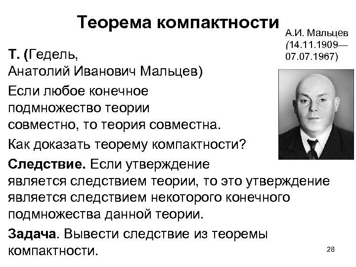 Теорема компактности А. И. Мальцев (14. 11. 1909— 07. 1967) Т. (Гедель, Анатолий Иванович