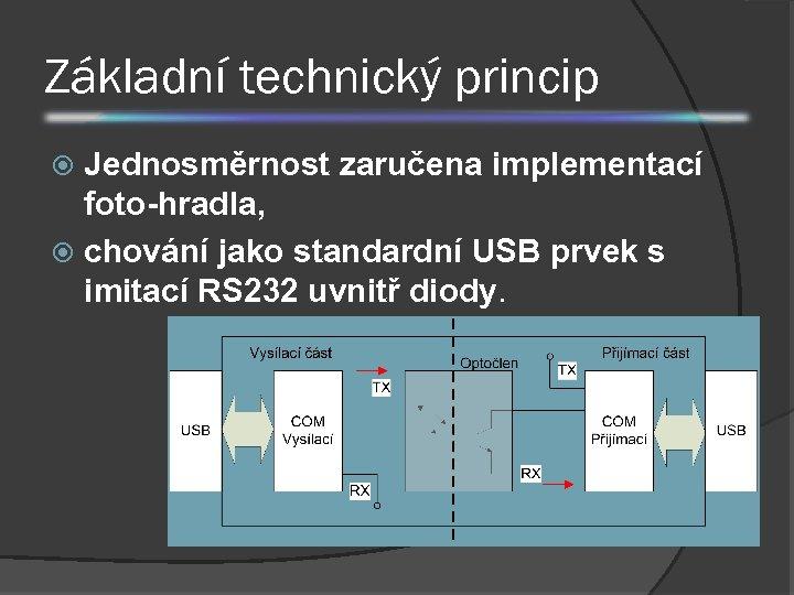 Základní technický princip Jednosměrnost zaručena implementací foto-hradla, chování jako standardní USB prvek s imitací