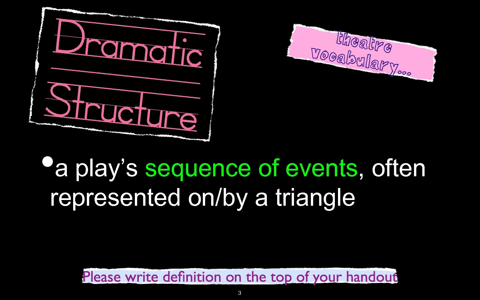 • a play's sequence of events, often represented on/by a triangle 3