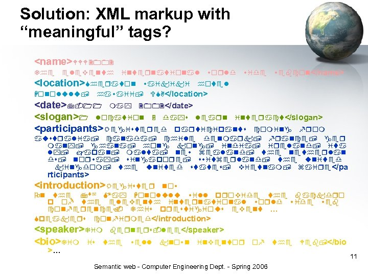 """Solution: XML markup with """"meaningful"""" tags? <name> </name> <location> </location> <date> </date> <slogan> </slogan>"""