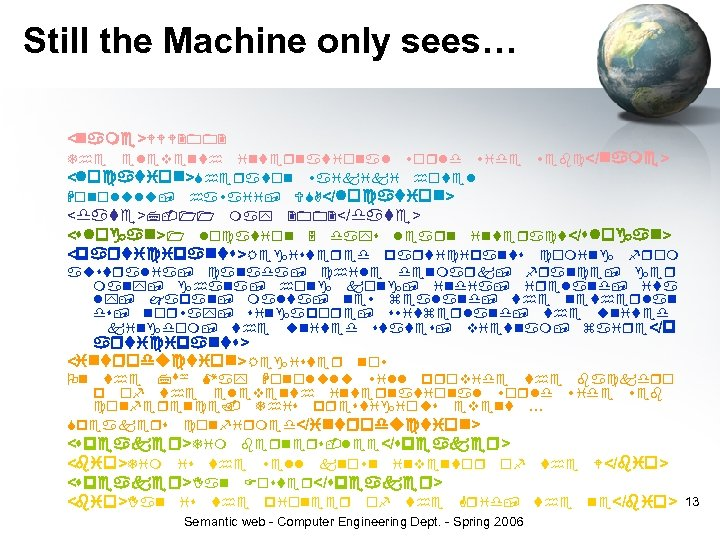 Still the Machine only sees… < > </ > < > </ > <