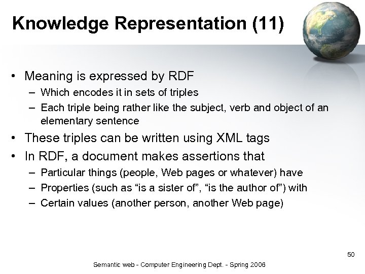 Knowledge Representation (11) • Meaning is expressed by RDF – Which encodes it in