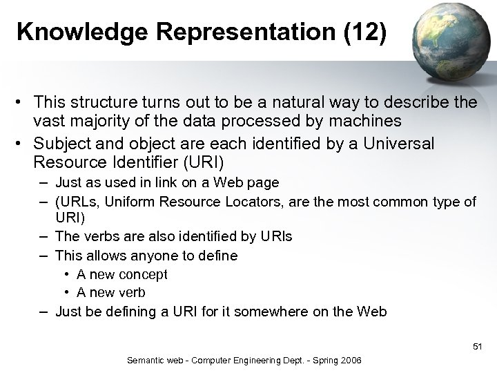 Knowledge Representation (12) • This structure turns out to be a natural way to