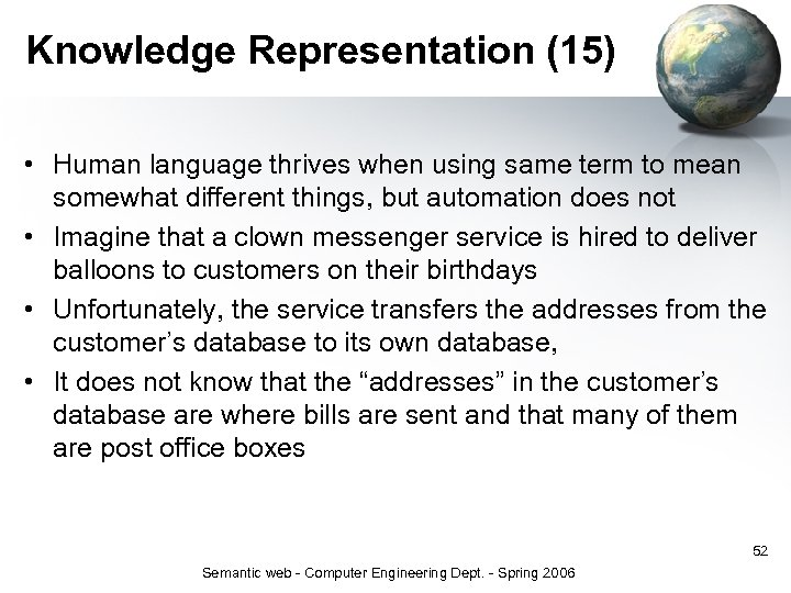 Knowledge Representation (15) • Human language thrives when using same term to mean somewhat