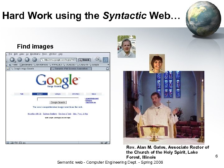 Hard Work using the Syntactic Web… Find images Rev. Alan M. Gates, Associate Rector