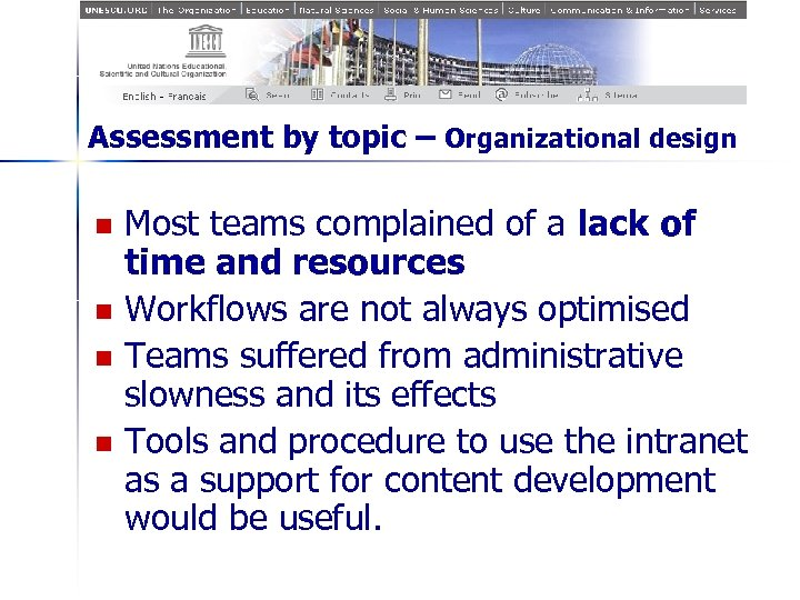 Assessment by topic – Organizational design n n Most teams complained of a lack