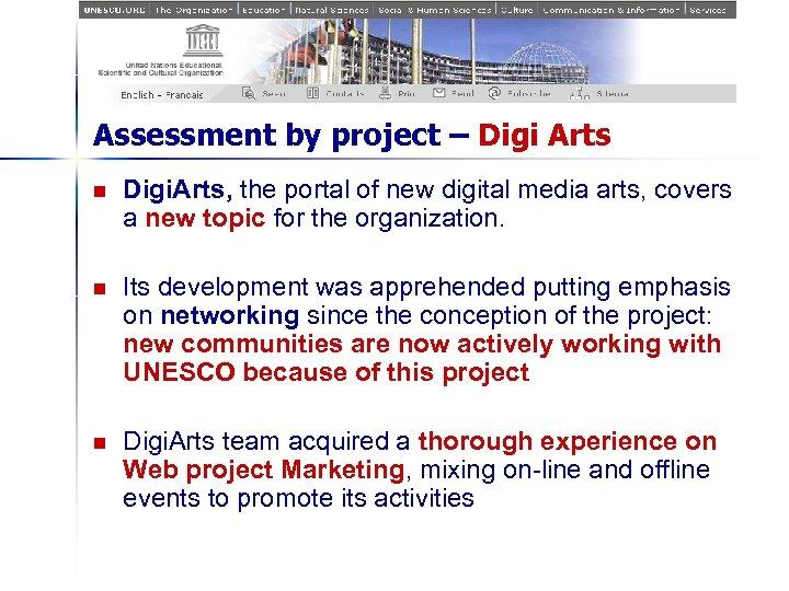 Assessment by project – Digi Arts n Digi. Arts, the portal of new digital