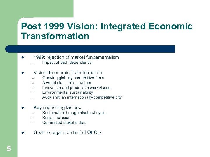 Post 1999 Vision: Integrated Economic Transformation l 1999: rejection of market fundamentalism – l