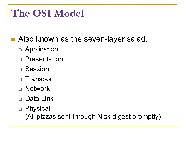 The OSI Model Also known as the seven-layer salad. Application Presentation Session Transport Network