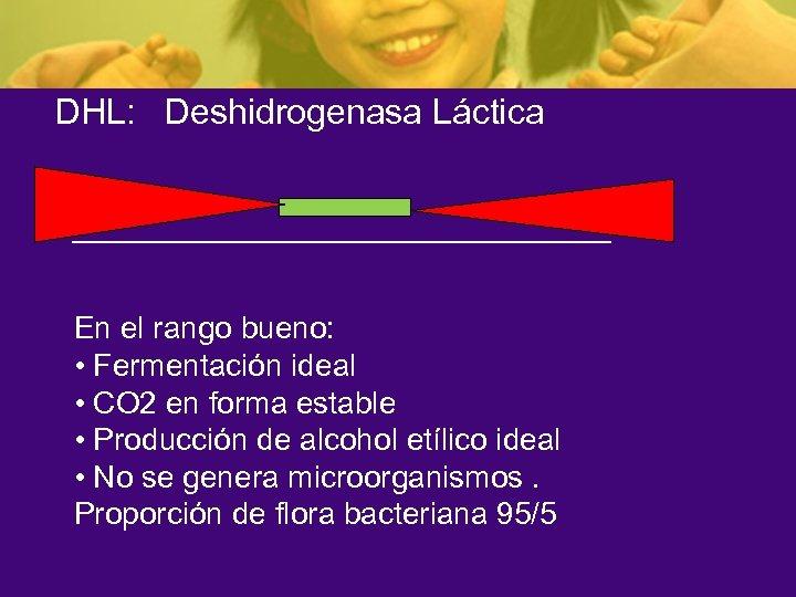 DHL: Deshidrogenasa Láctica En el rango bueno: • Fermentación ideal • CO 2 en