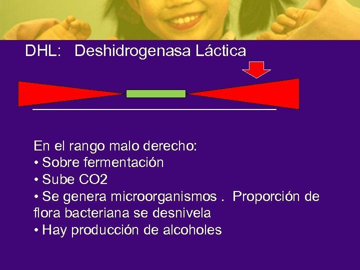 DHL: Deshidrogenasa Láctica En el rango malo derecho: • Sobre fermentación • Sube CO