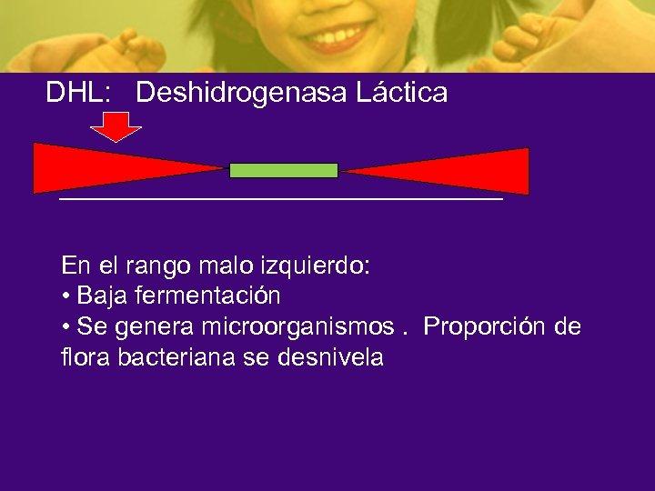 DHL: Deshidrogenasa Láctica En el rango malo izquierdo: • Baja fermentación • Se genera