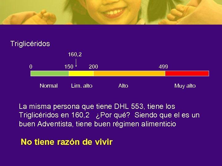 Triglicéridos 160, 2 0 150 Normal 200 Lim. alto 499 Alto Muy alto La
