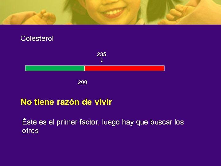 Colesterol 235 200 No tiene razón de vivir Éste es el primer factor, luego