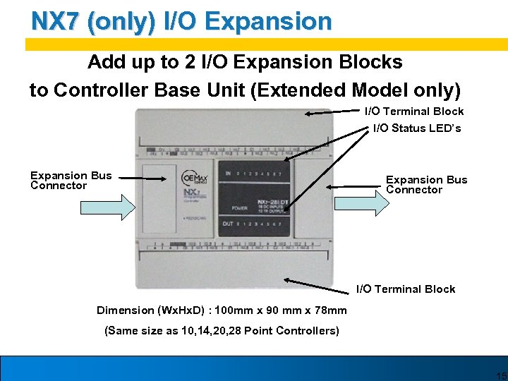 NX 7 (only) I/O Expansion Add up to 2 I/O Expansion Blocks to Controller