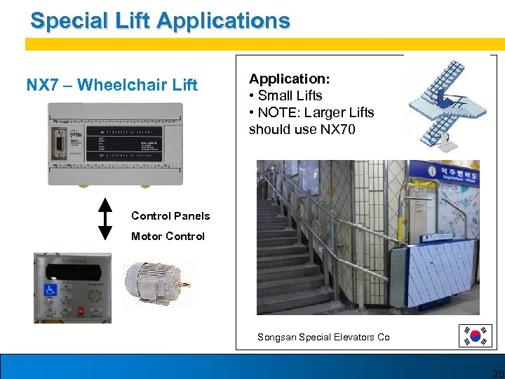 Special Lift Applications NX 7 – Wheelchair Lift Application: • Small Lifts • NOTE: