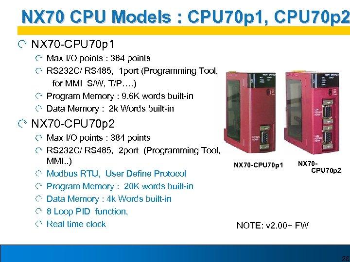 NX 70 CPU Models : CPU 70 p 1, CPU 70 p 2 NX
