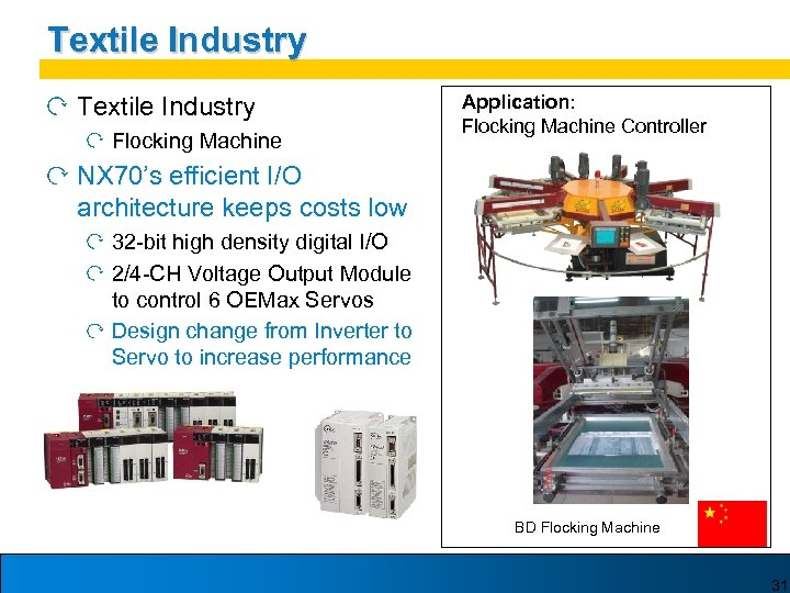 Textile Industry Flocking Machine Application: Flocking Machine Controller NX 70's efficient I/O architecture keeps