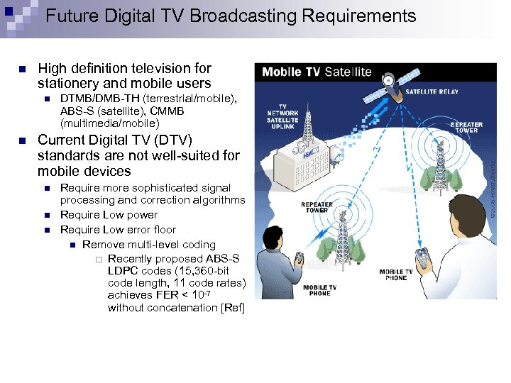 Future Digital TV Broadcasting Requirements n High definition television for stationery and mobile users