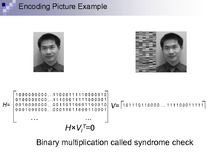 Encoding Picture Example V= H×Vi. T=0 Parity Image Binary multiplication called syndrome check