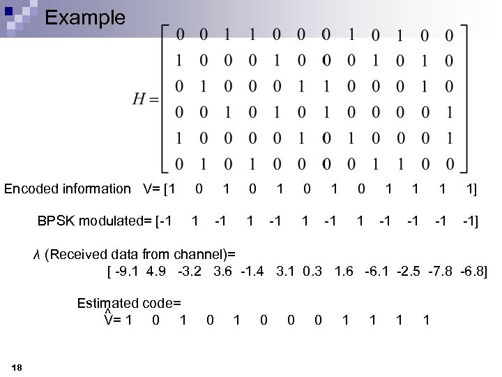 Example Encoded information V= [1 0 1 0 1 1 1 1] BPSK modulated=