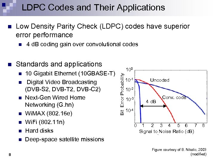 LDPC Codes and Their Applications Low Density Parity Check (LDPC) codes have superior error