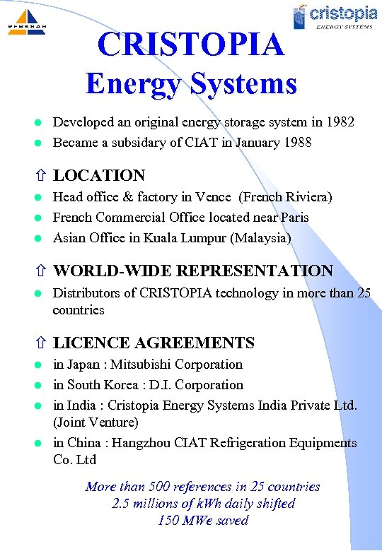 CRISTOPIA Energy Systems l l Developed an original energy storage system in 1982 Became