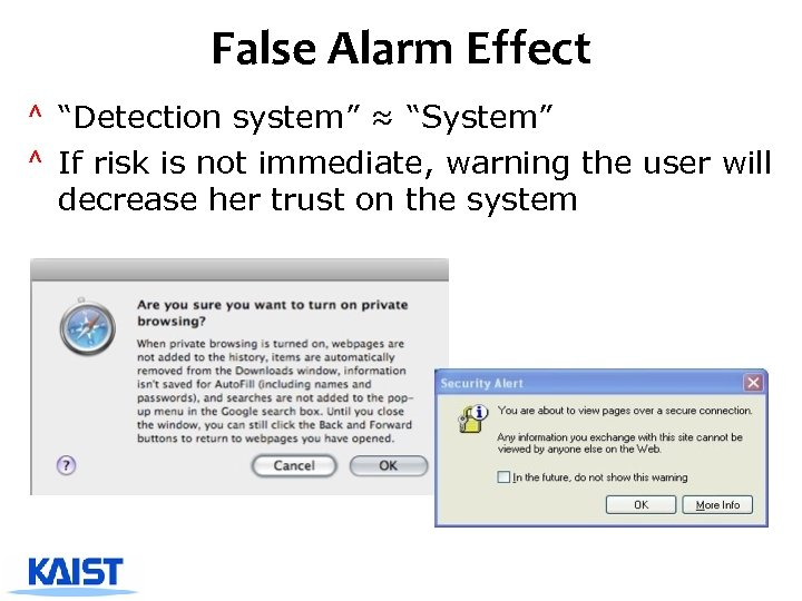 """False Alarm Effect ^ """"Detection system"""" ≈ """"System"""" ^ If risk is not immediate,"""