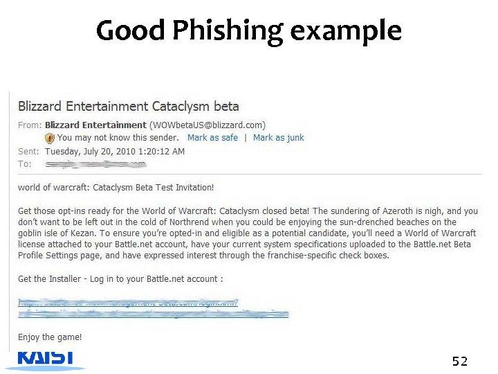 Good Phishing example 52