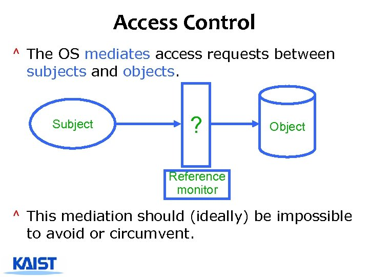 Access Control ^ The OS mediates access requests between subjects and objects. Subject ?
