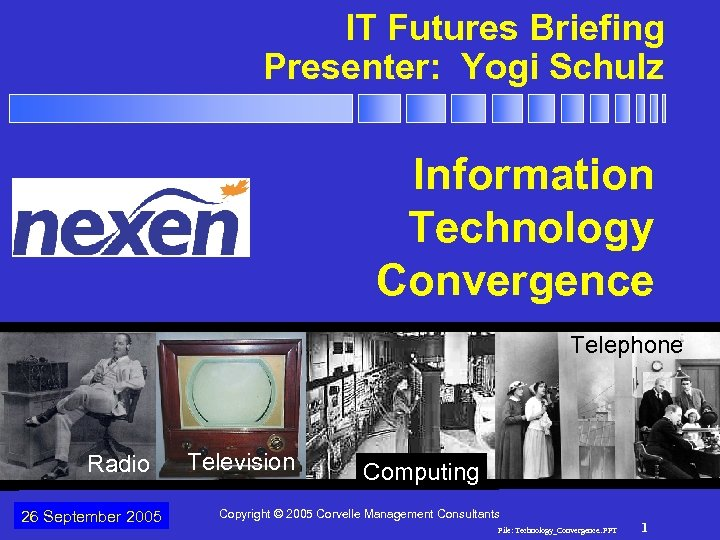 IT Futures Briefing Presenter: Yogi Schulz Technology Convergence Information Technology Convergence Telephone Radio 26