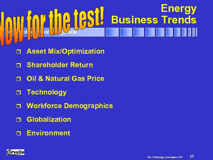 Energy Business Trends Technology Convergence r Asset Mix/Optimization r Shareholder Return r Oil &