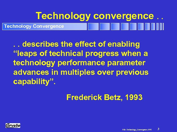 "Technology convergence. . Technology Convergence . . describes the effect of enabling ""leaps of"