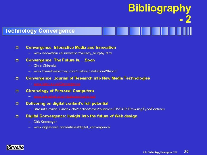 Bibliography -2 Technology Convergence r Convergence, Interactive Media and Innovation – www. innovation. ca/innovation