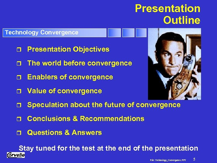 Presentation Outline Technology Convergence r Presentation Objectives r The world before convergence r Enablers
