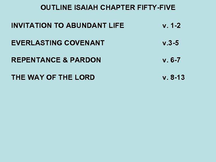 OUTLINE ISAIAH CHAPTER FIFTY-FIVE INVITATION TO ABUNDANT LIFE v. 1 -2 EVERLASTING COVENANT v.