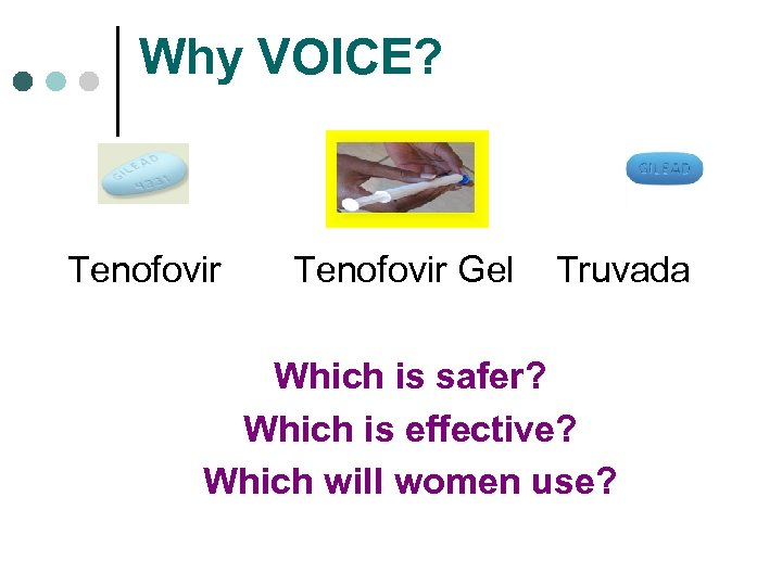 Why VOICE? Tenofovir Gel Truvada Which is safer? Which is effective? Which will women