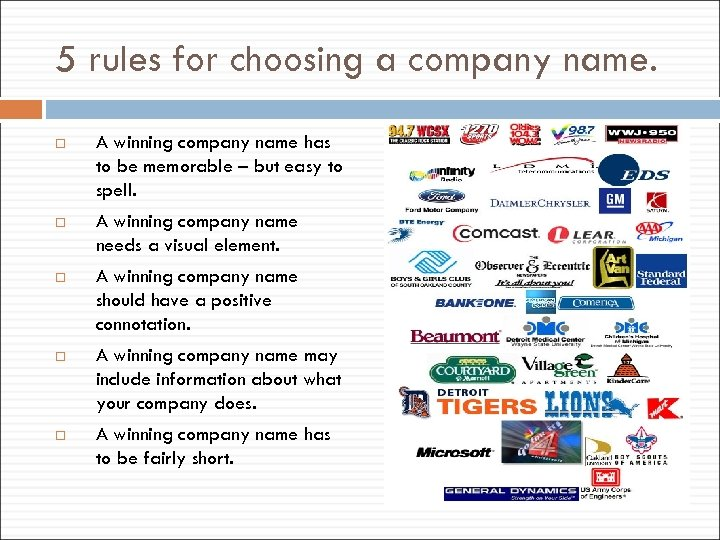 5 rules for choosing a company name. A winning company name has to be