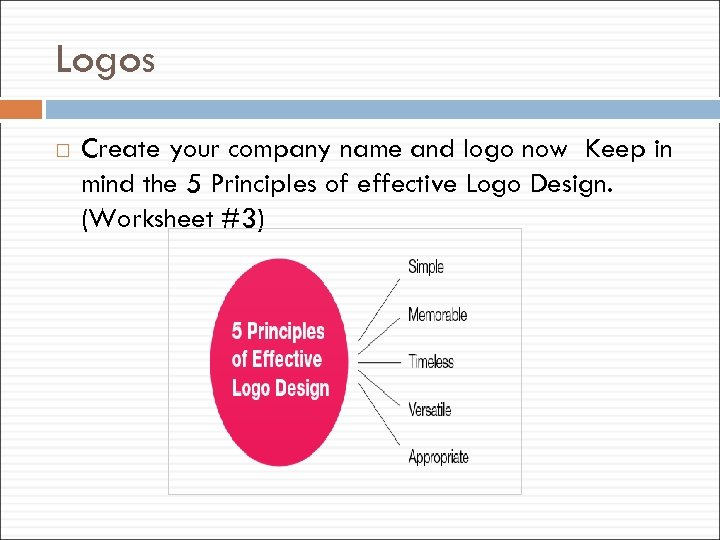 Logos Create your company name and logo now Keep in mind the 5 Principles