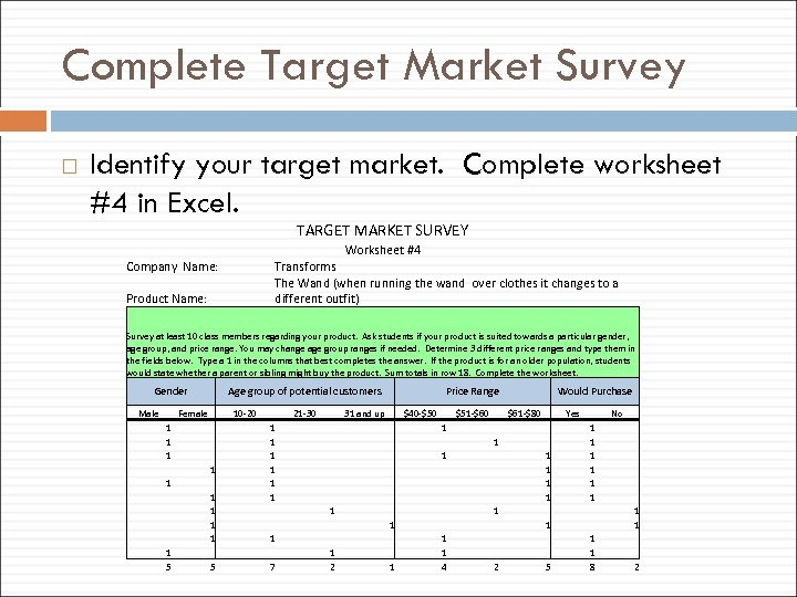 Complete Target Market Survey Identify your target market. Complete worksheet #4 in Excel. TARGET