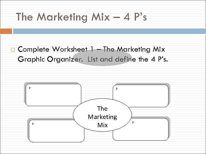 The Marketing Mix – 4 P's Complete Worksheet 1 – The Marketing Mix Graphic