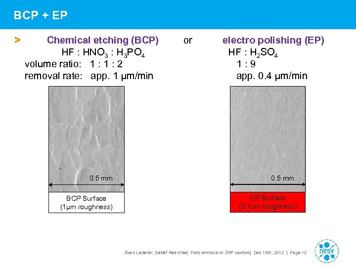 BCP + EP > Chemical etching (BCP) HF : HNO 3 : H 3