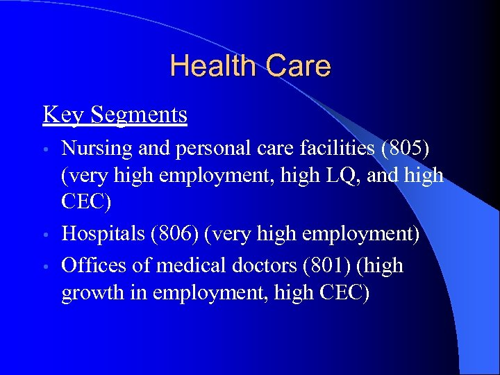 Health Care Key Segments Nursing and personal care facilities (805) (very high employment, high