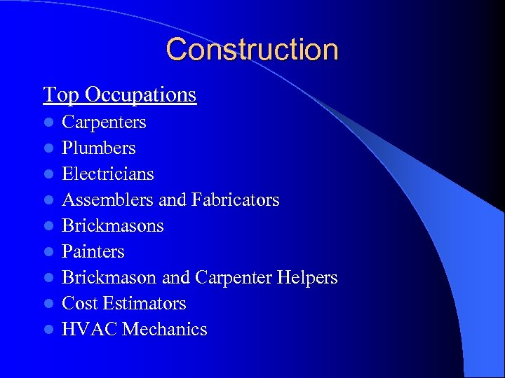 Construction Top Occupations l l l l l Carpenters Plumbers Electricians Assemblers and Fabricators
