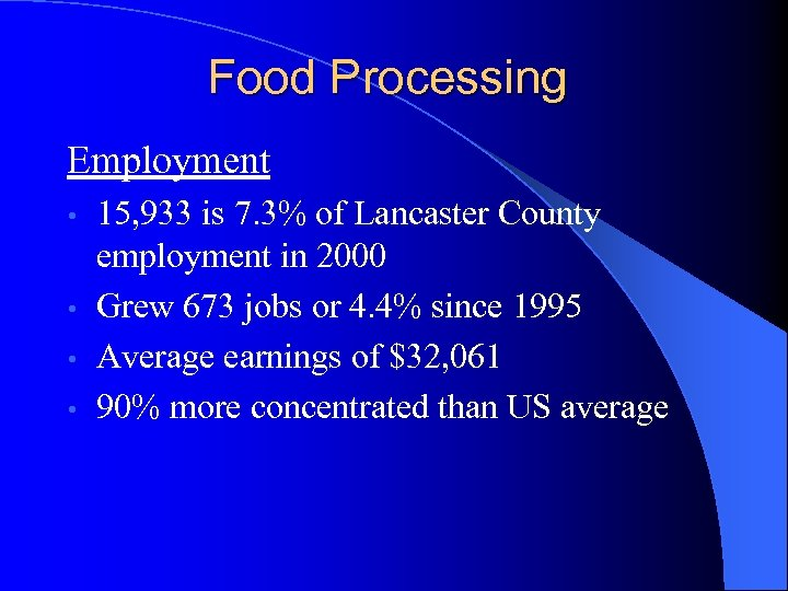 Food Processing Employment 15, 933 is 7. 3% of Lancaster County employment in 2000