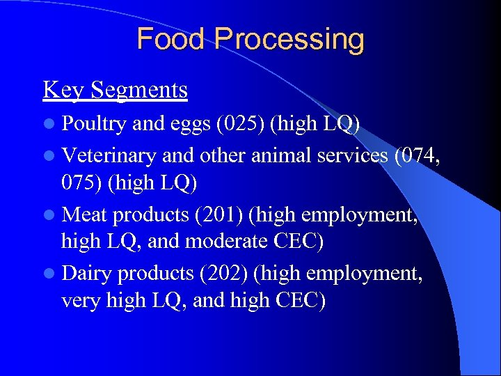Food Processing Key Segments l Poultry and eggs (025) (high LQ) l Veterinary and