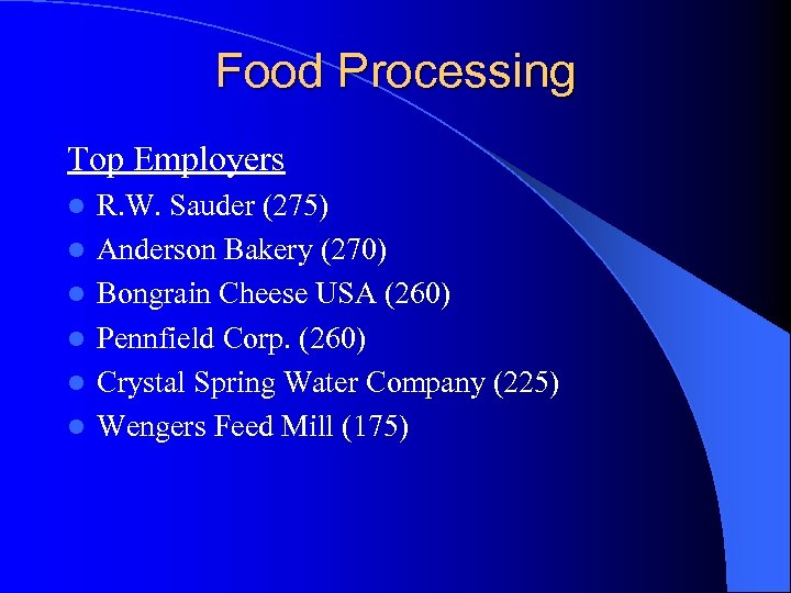 Food Processing Top Employers l l l R. W. Sauder (275) Anderson Bakery (270)