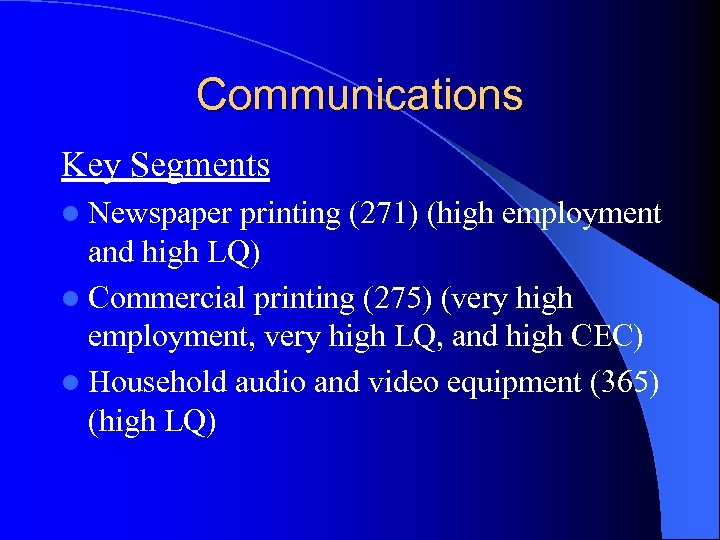 Communications Key Segments l Newspaper printing (271) (high employment and high LQ) l Commercial
